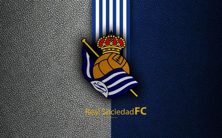 Download wallpapers Real Sociedad FC, 4K, Spanish football club, La Liga, logo, emblem, leather texture, San Sebastian, Spain, football