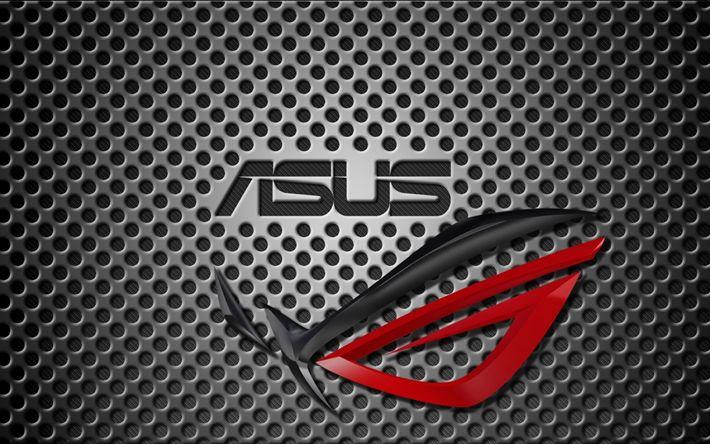 Descargar fondos de pantalla Ausu, logotipo, metal de fondo, Republic of Gamers