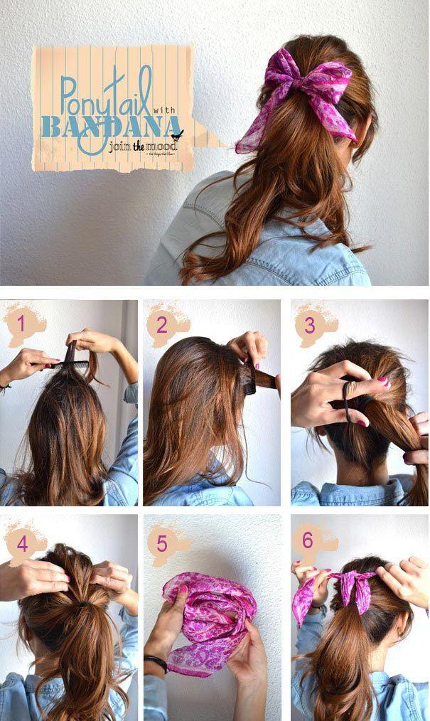 At kuyruğu saç ile basit bandana bağlama