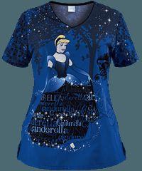 Cherokee Tooniforms Sparkle Dreams Print Scrub Top Pants: Black, Galaxy Blue, Navy, White