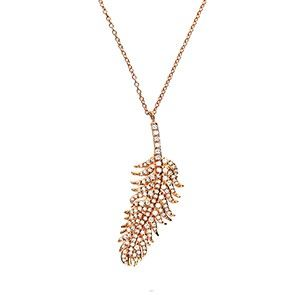 Rose Vermeil Pavé Feather Drop Necklace