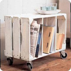 Upcycled crate on wheels. (This one is pretty cool, I've always wanted to do something with wooden crates. I will look for more wooden crate DIY in the near future.--L.)