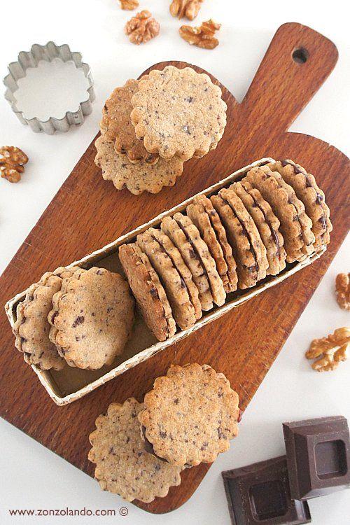 Biscotti alle noci con caramello al cioccolato - Walnut cookies
