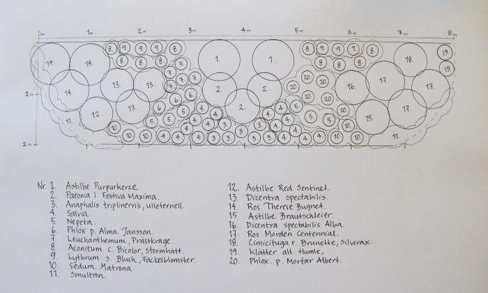 Flera har frågat om de fina växterna som syntes i min mormorsrabatt i första avsnittet av Claras Gård. Jag har faktiskt en ritning med alla sorter uppskriv