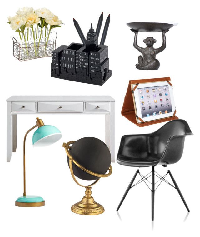 """Light home desk"" by oana-grigorie on Polyvore featuring interior, interiors, interior design, home, home decor, interior decorating, Herman Miller, PBteen, Avanti and Piel Leather"