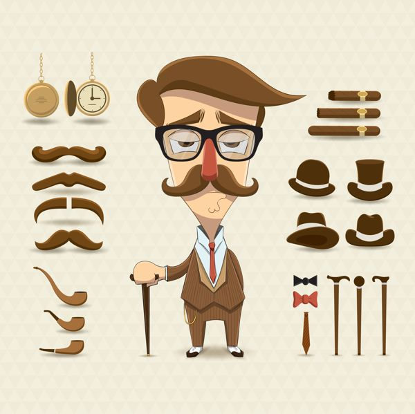 Character design set with elements and accessories on Behance