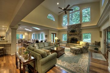Two Story Living Room Design Ideas, T.V. Above fireplace- an option ...