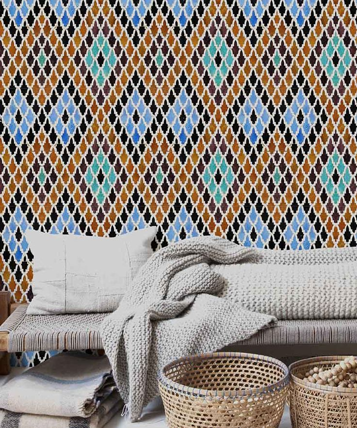 A stunning wallpaper with a geometric motif inspired by Marrakesh traditional tiles. Image by MindtheGap.