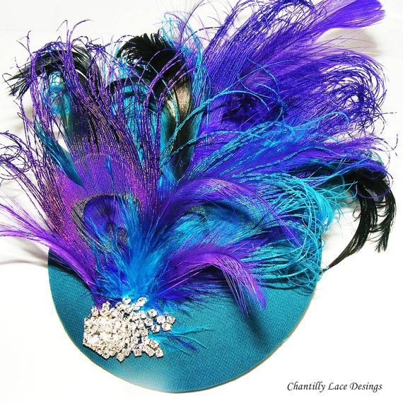 Purple and Teal Peacock Feather Cocktail hat by ChantillyLaceDesigns in Canada