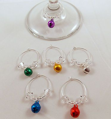 Wine Glass Charms Set Of 6 Multi Colored Jingle Bells Hand Crafted