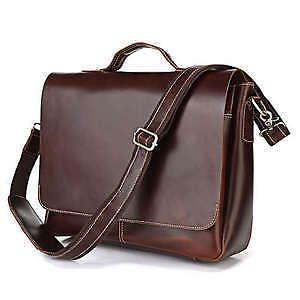 Vintage genuine leather man messenger bag men briefcase laptop shoulder bag 7108