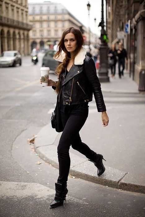 cute leather jacket: Fashion, Winter, Black Outfits, All Black, Clothing, Fall Wins, Street Style, Bomber Jackets, Leather Jackets