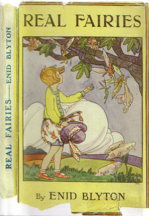"""First Edition Wrapper of """"Real Fairies"""" by Enid Blyton. Real Fairies is a collection of 33 poems with all but one written specifically for the book. It was initially published in July 1923 & was the first hardback publication of a Blyton book."""