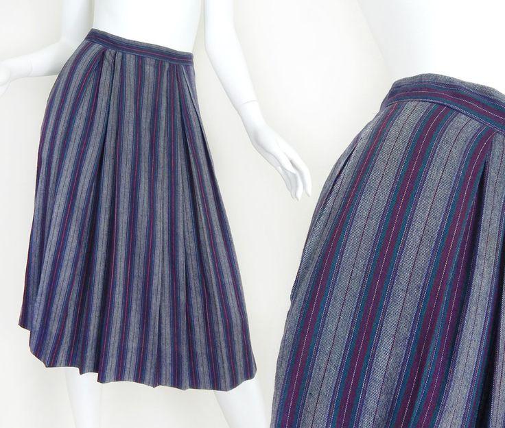 "Vintage 80s Calvin Klein High Waisted Full Pleated Midi Skirt - Gray, Burgundy, Teal Striped Below the Knee Women's Skirt - 26"" Waist"