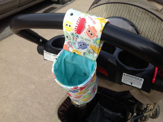 Snap-On Cup / Bottle Holder - Waterproof, Child Size, Colorful Little Monster Print and Mint PUL, Stroller/High Chair/Crib on Etsy, $18.00