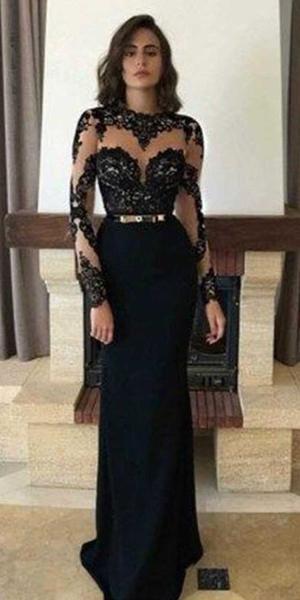 Long Sleeves Black Elegant Affordable Prom Dresses Sg109