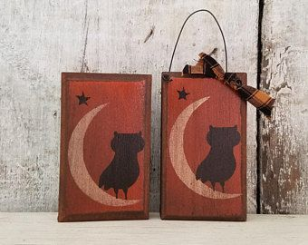 Primitive Fall Decor, Owl, Star, Moon, Pine Board, Rustic Fall Decor, Country Fall Decor, Halloween Decoration, Primitive Halloween