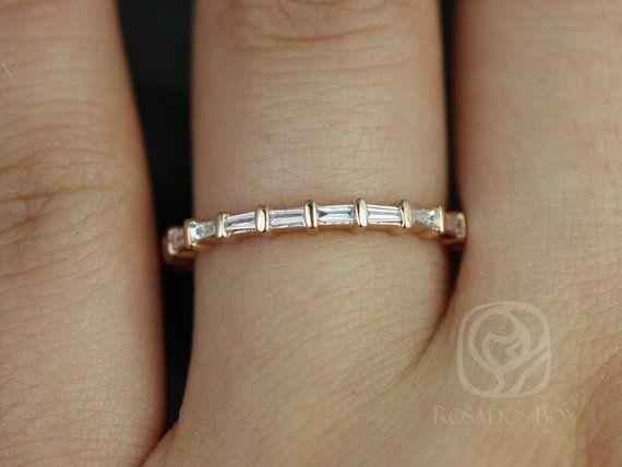 Baguettella 14kt Rose Gold Dainty East West Baguette Diamond Full Eternity Stacking Band Ring