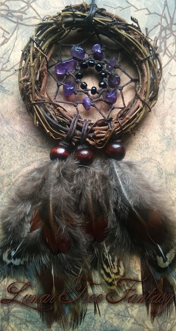 Amethyst Circle Dream Catcher by LunarTreeFantasy on Etsy Available - 20$ Amethyst is used as a dream stone and to help people who suffer from insomnia. Making it perfect to have in the bedroom. Amethyst will protect one from drunkenness, feelings of guilt and fear, self-deception, and protection against witchcraft that could have a negative effect on your life. #dreamcatcher #Dreamcatchers #boho #Bohemian #hippie #crystalhealing #amethyst