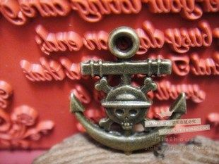 anchor with skull alloy diy bling phone deco  | chriszcoolstuff - Craft Supplies on ArtFire