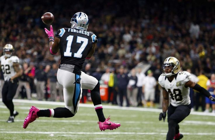 Panthers vs. Saints:      October 16, 2016  -  41-38, Saints  -    Carolina Panthers wide receiver Devin Funchess (17) pulls in a touchdown reception in front of New Orleans Saints free safety Vonn Bell (48) in the first half of an NFL football game in New Orleans, Sunday, Oct. 16, 2016.