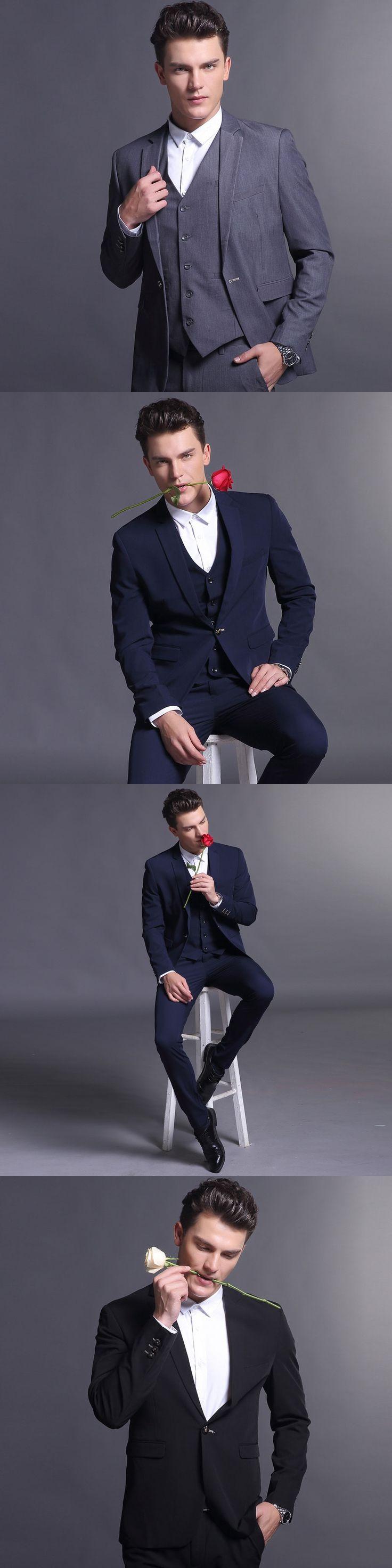 Men Suit Costume Slim Fit Latest Coat Pant Designs Jacket + Pant + Vest 3Pcs Mens Suits For Men Costume Homme Y377