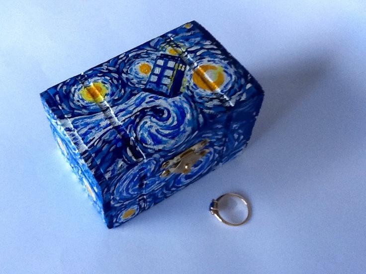 Starry Night Wedding Ring Box, Handmade Tardis Engagement Ring Box, Doctor Who Proposal Ring Box, Van Gogh Tardis Ring Box. $49.00, via Etsy.