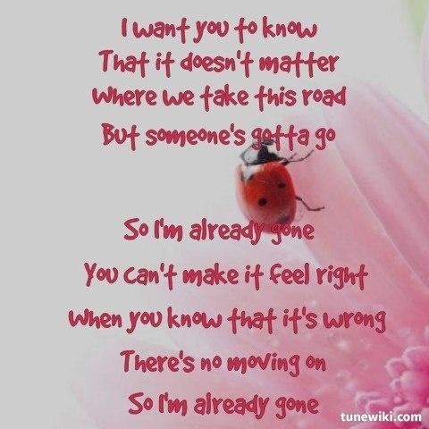 "LyricArt for ""Already Gone"" by Kelly Clarkson"
