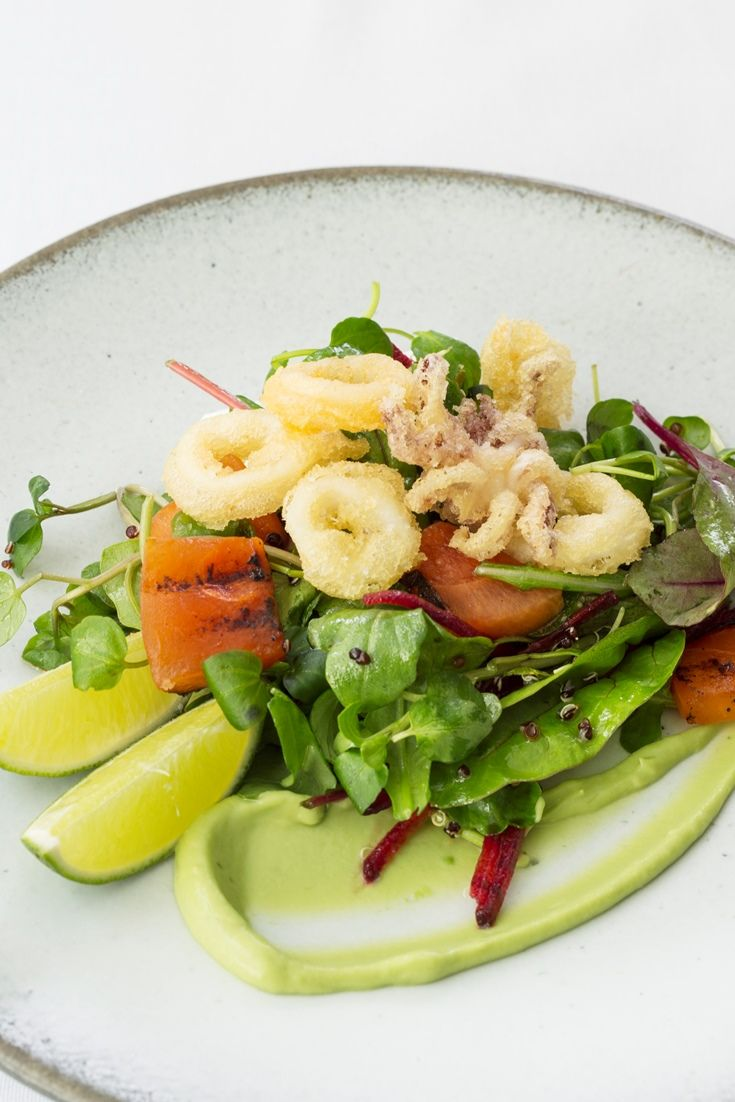 Paul Welburn captures pure summer sunshine in his salt and pepper squid salad recipe, with charred watermelon and a silky smooth avocado purée adding a touch of the Mediterranean. [ calamari , squid ]