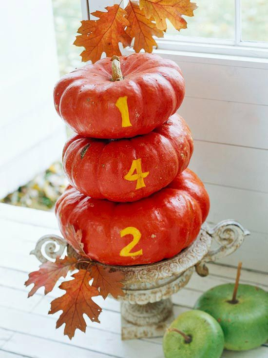 Put your house number on a set of pumpkins for front door decoration!