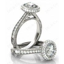 Brilliant Cut Halo Vintage Diamond Engagement Ring With Claw Set Centre Stone