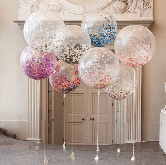 5 Giant Confetti Balloons | Birthday Balloons | Wedding Balloons | Baby Shower | New Years Balloons
