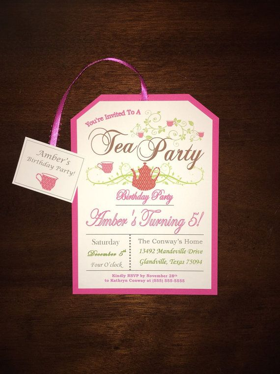 Little Girl's Pink Tea Party Birthday Invitations 5 years old! Customizable.