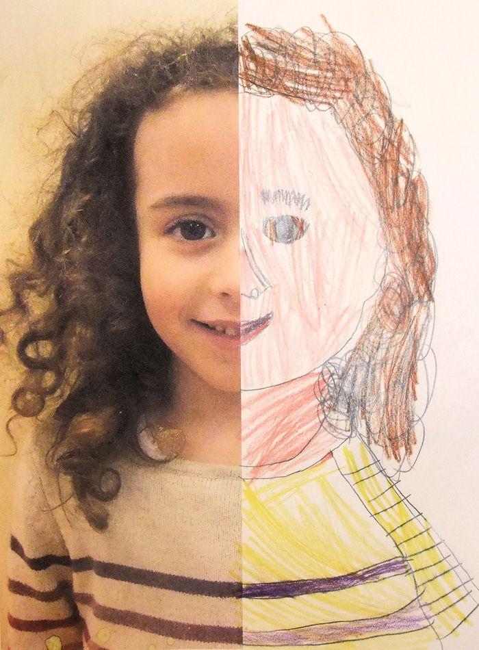Half Self-Portraits Project by Hannah's Art Club. - Art is a Way