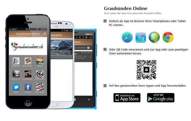"""Neu: die kostenlose Mobile App """"Graubünden Online"""" https://www.graubuendner.ch/blog/allgemein/neu-die-kostenlose-mobile-app-graubuenden-online/ #mobile #app #android #iphone #playstore #istore"""