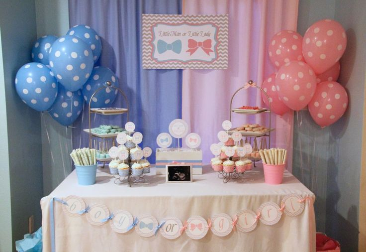 5M Creations: Gender Reveal Party - Little Man or Little Lady? Dessert Table Pink Blue