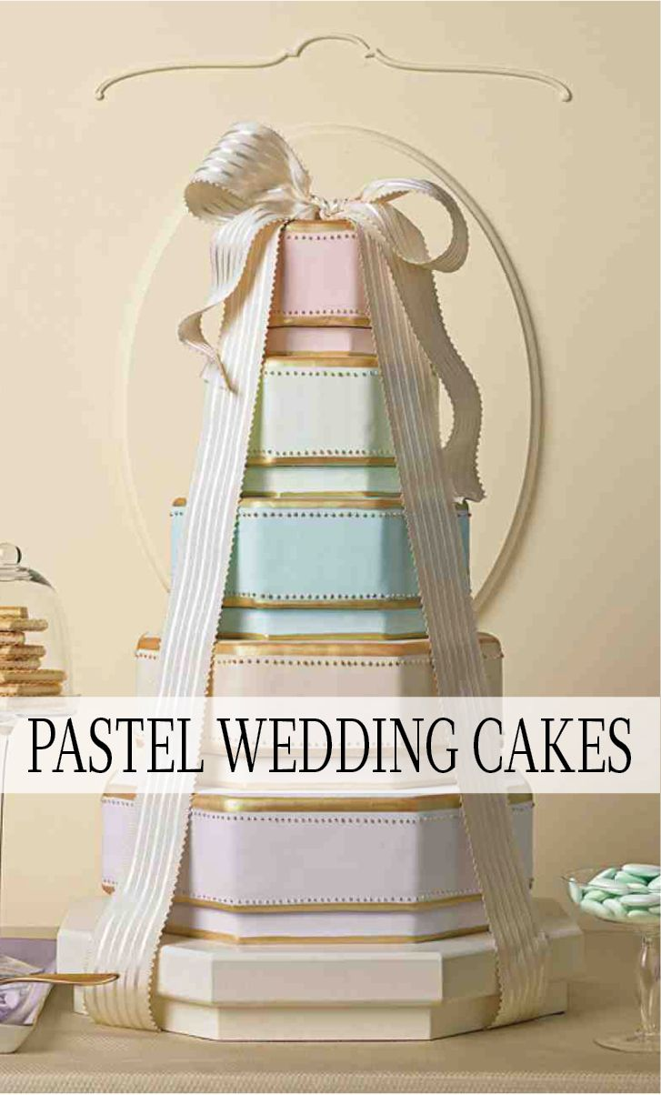 Pastel Wedding Cakes | Martha Stewart Living - The edible pleats here recall the crinolines beneath a cream puff of a wedding dress. White wafer papers, cut with scallop scissors and folded, were painted with gold luster dust and petal dust in pinks and greens. They were then piped with white royal icing and attached to the mint-green fondant-covered tiers with more royal icing. The fluted pastry cups, filled with pillow mints, complete the pleated theme.