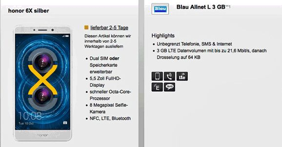 Günstiger Handyvertrag mit dem Honor 6X 32GB Dual SIM mit Vertrag Blau Allnet L 3 GB für 5,82 € rechnerische monatliche Grundgebühr im Netz von O2.