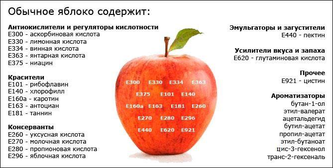 Обычное яблоко содержит