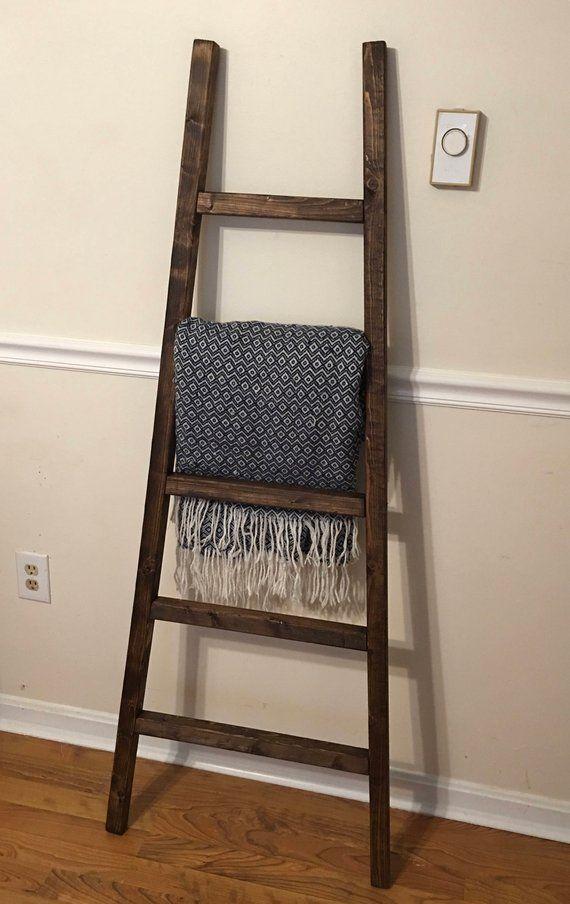 Rustic Reclaimed Wood Blanket Ladder Towel Rack Blanket Display Wood Blanket Rack Rustic Ladder Pot Rack Quilt Rack Vintage Decor Rustic Ladder Quilt Rack Blanket Rack