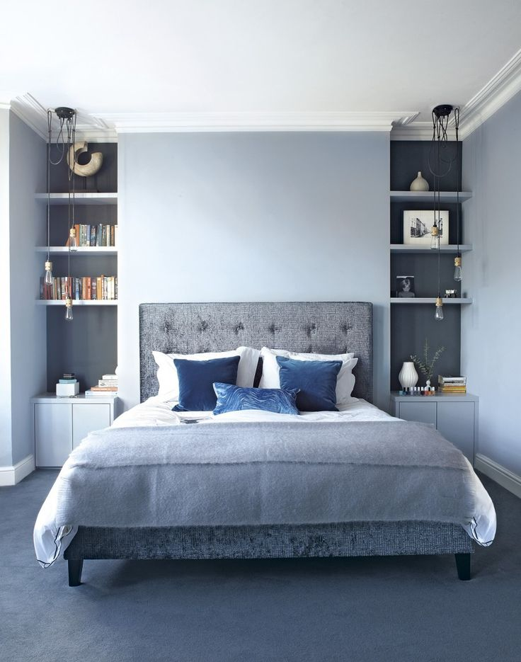 Modern Blue Bedroom with Alcove Shelving and Pendants - good way to use the particularities of a non-square room OR you could build a fake wall