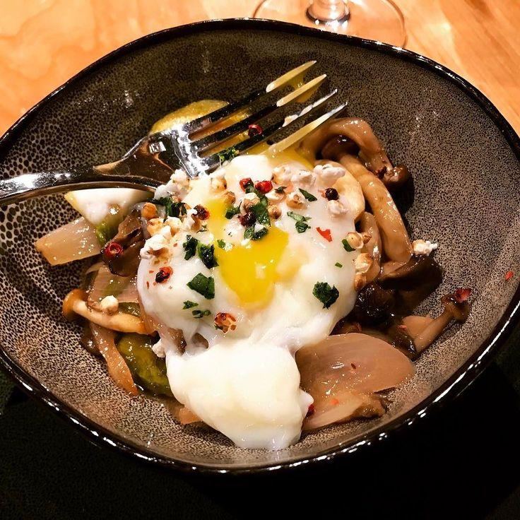"Organic Farm Egg at #manzanita at @ritzcarlton Lake Tahoe with soft organic egg wild mushroom ragout Brussels sprouts sorghum ""popcorn"" and truffle = OOH LA LA SISS BOOM BA RAH RAH RAH! #northstar #northstarfamily #laketahoe @northstar_california #hosted #food #foodporn #doyoutravel #travel #travelgram #travellife #foodie #ritzcarlton #familytravel #travelblogger #travelblog #california"