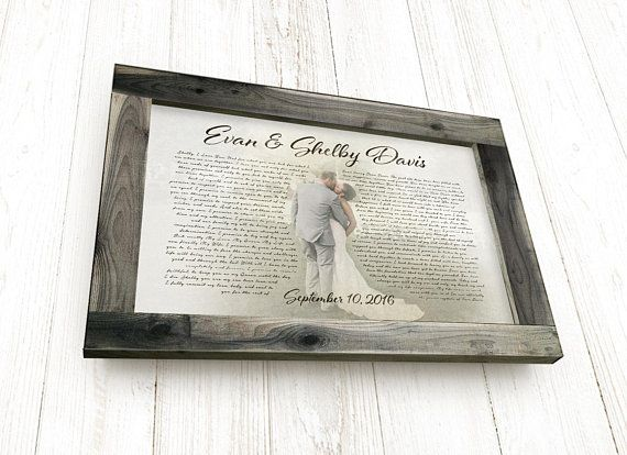 Your wedding vows and photo on canvas, with a solid cedar, rustic ...