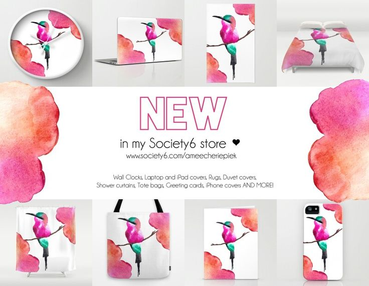 My artwork is available on various items such as Clocks, Throw pillows, Laptop + iPhone + iPad covers, Shower curtains etc :)   Shop here: www.society6.com/ameecheriepiek