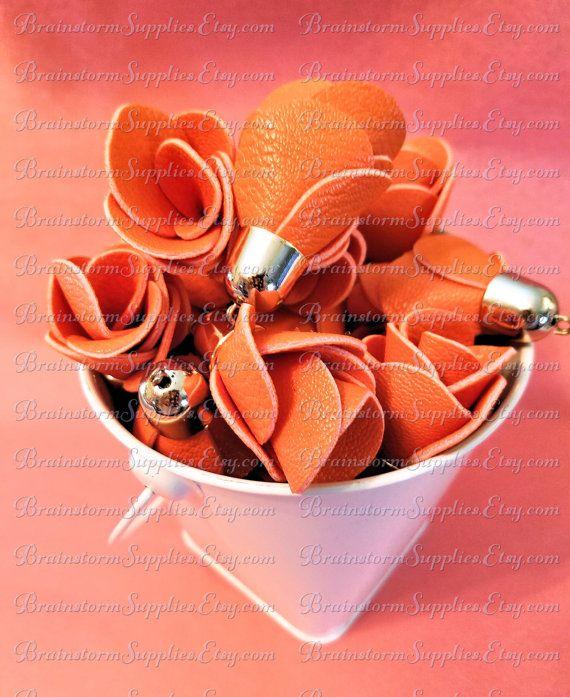 Decorative Tassels  6 Orange Flower Tassels Pale Gold Caps