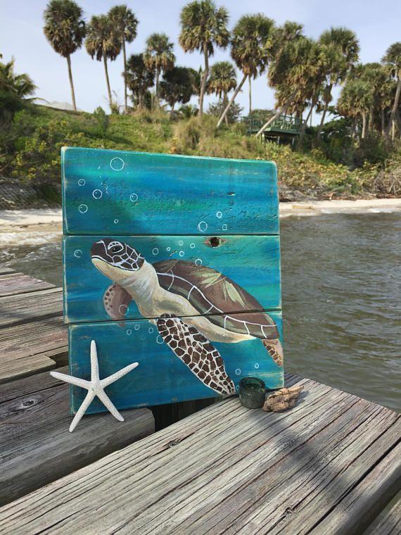 Sea Turtle Painting Sea Turtle Wall Art Sea Turtle Gifts Sea