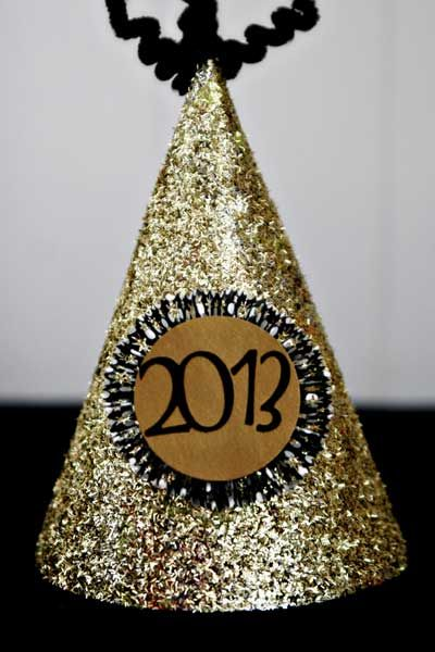New Year's Eve Glitter Party Hat at ThinkCrafts.com