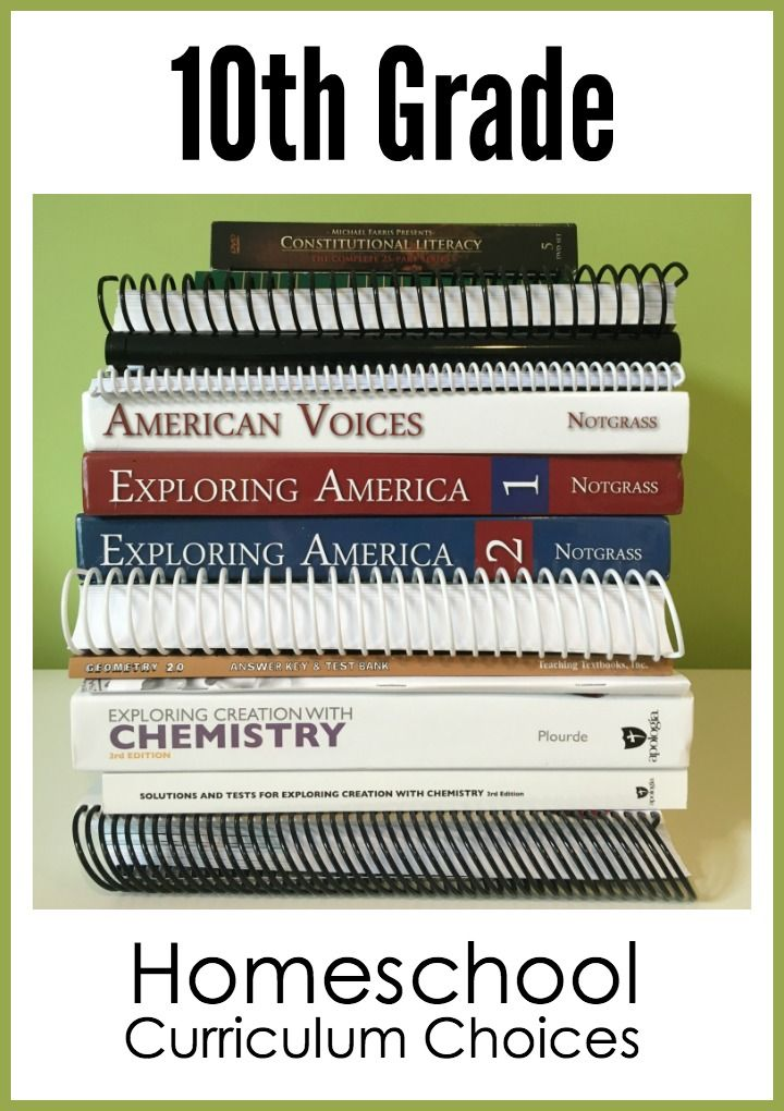 10th grade homeschool curriculum choices from Homeschool Creations - for 7 high school credits