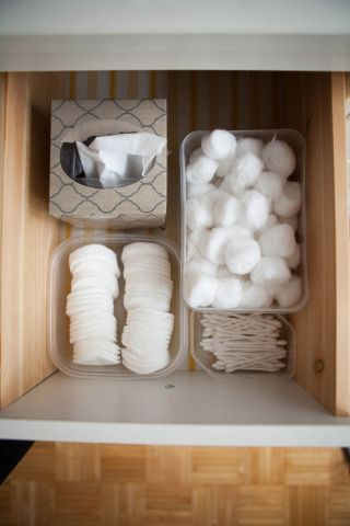 Fit old plastic food containers into the drawers of your vanity or bathroom to #organize cotton balls, Q-tips, makeup removal rounds..all at the #dollartree