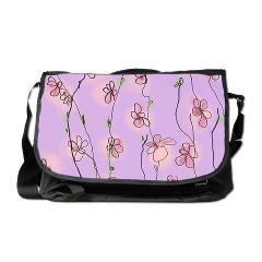 'Cherry Blossoms on Mauve' design on messenger bag.